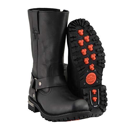 Milwaukee Leather MBM131W MBM131W Mens Wide Width 11-Inch Classic Square Toe Black Harness Boots - 13W
