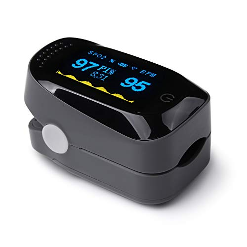 Oximetro Dedo Profesional de Pulso, Pantalla LED Saturación de Oxígeno en Sangre Índice de Perfusión Monitor de Frecuencia Cardíaca y Sueño
