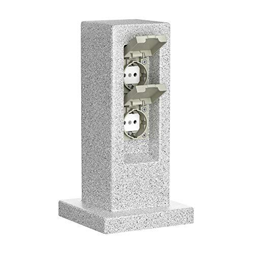 ledscom.de Garten-Steckdosen-Säule POCK für außen, 2-Fach, Stein-Optik, Kunstharz, eckig, 30cm