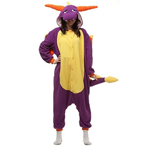 HUTUTU Unisex Onesie/Jumpsuit Einteiler Body für Erwachsene Damen Herren als Pyjama oder Schlafanzug,Lila Drache,LTY12-lila,L