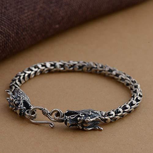 ESCYQ Damen Vintage Armbänder Armband Bettelarmband,S 925 Silber Armband Thai Silber Antik Style Herren Hahn Styling Silber Armband Für Geburtstagsgeschenk
