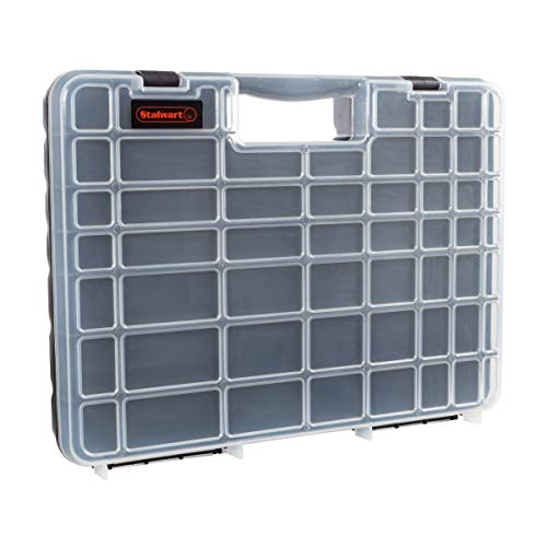 Portable Storage Case with Secure Locks and 55 Small Bin Compartments for Hardware, Screws, Bolts, Nuts, Nails, Beads, Jewelry and More by Stalwart