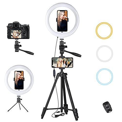 """NIVEOLI Ring Light avec Trépied, anneau lumineux 10,2"""", Télécommande pour Selfie, Support de Téléphone Portable, 3 Couleurs, 10 types de Luminosité, Adaptés à Youtube, TikTok, Maquillage, photographie"""