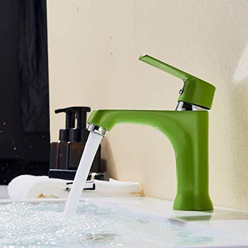 YZDD Faucet grifo de baño estilo moderno grifos fríos y calientes lavar grifo mezclador verde