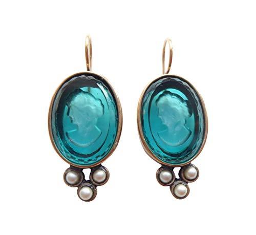 Zauberhafte große Gemmen-Ohrringe Ohrhänger petrol-farbene Glas-Gemme Handarbeit Designer EXTASIA