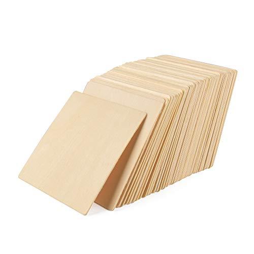 ewtshop® Holzquadrate, 10 x 10 cm, 50 Stück, Dicke 2 mm, zum Bemalen, Dekorieren oder Basteln