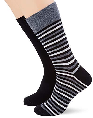ESPRIT Herren Multistripe 2-Pack M SO Socken, Schwarz (Black 3000), 43-46 (UK 8.5-11 Ι US 9.5-12) (2er Pack)