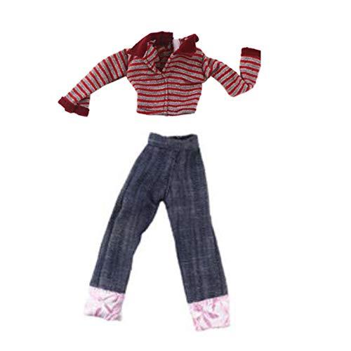Maya Star Ropa hecha a mano Diseño Muñeca Accesorios Vestir Ropa Moda Disfraces Casual Jeans Top Suit para muñecas de 11.8 pulgadas (raya)