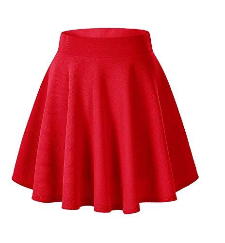 Afibi Girls Casual Mini Stretch Waist Flared Plain Pleated Skater Skirt (Small, Red)