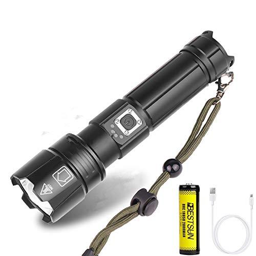 Linterna LED XHP70 8000 lúmenes Linternas LED XHP70 recargables Linterna táctica de mano Lámpara de resistencia al agua con zoom Linterna para senderismo, camping, espeleología, viajes.