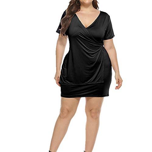 Vestido de mujer con cuello en V sólido delgado falda de manga corta