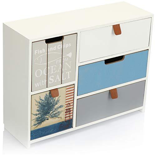 com-four® Mini-Kommode mit 5 Schubladen - Holz-Schränkchen im maritimen Design - Mini-Schrank zur Aufbewahrung von Schmuck, Kosmetik und Kleinkram (1 Stück - 30x10x23.5-5 Schubladen)