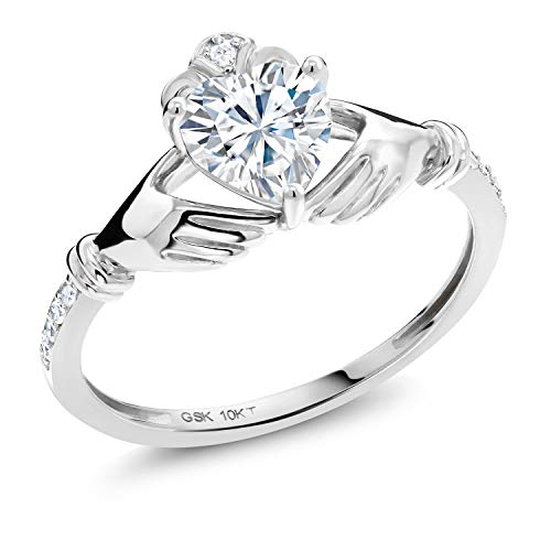 10K White Gold Solitaire Irish Celtic Claddagh Ring Forever Brilliant (GHI) Heart Shape 0.80ct (DEW) Created Moissanite by Charles & Colvard and Diamond (Size 5)
