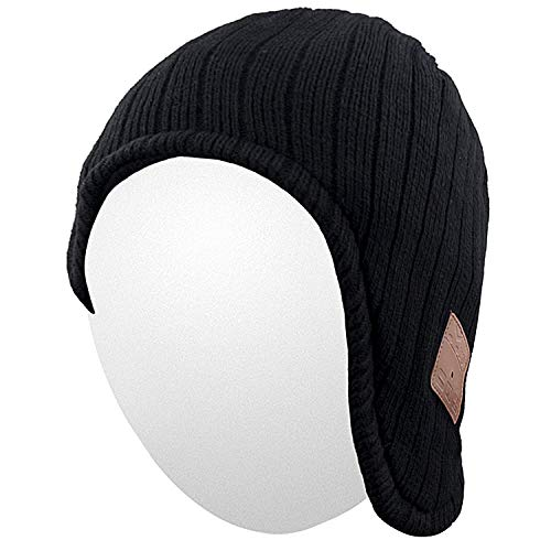 Qshell Winter Trendy Bluetooth Beanie Hat Cap Ear Warmers with Wireless Headphones Headsets Earphone Stereo Speaker Microphone for Outdoor Sports,Compatible with iPhone Android Cell Phones - Black
