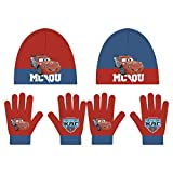 Disney Cars 2tlg. Winterset Kindermütze Kinderschal Kinderhandschuhe Mütze Schal Handschuhe WD9823 (Rot)
