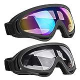 NONMON Lunettes de Ski Snowboard,2 Pièces Goggles de Vélo Moto VTT,PC Lentille UV400 Coupe-Vent Antiéblouissant Anti-Poussière,pour Enfant Femmes Hommes Garçons Filles
