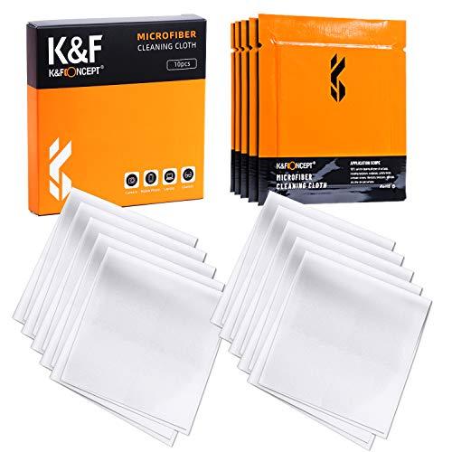 K&F Concept クリーニングクロス 10枚入り 個別真空パック マイクロファイバー 水洗い メガネ拭き カメラ用 スマホ 液晶画面 レンズ ガラス 指紋拭き