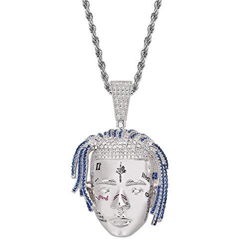 Urbanice - Collar Xxxtentacion Colgante Diamantes Hip Hop (Trap) (Plateado)