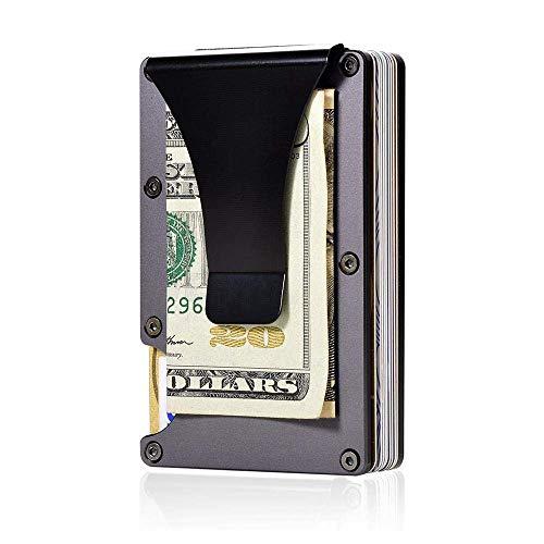 Modeor Carbon Fiber Men Mini Wallet Slim Wallet Credit Card Holder Rfid Blocking Anti Scan Metal Cash Clip Black