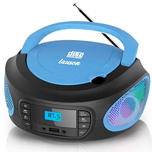 Lauson Woodsound LLB597 Boombox with Cd Player Mp3 | Portable Radio CD-Player Stereo with USB | Cd Player for Kids | LED Light Function | Headphone Jack 3.5mm (Blue)