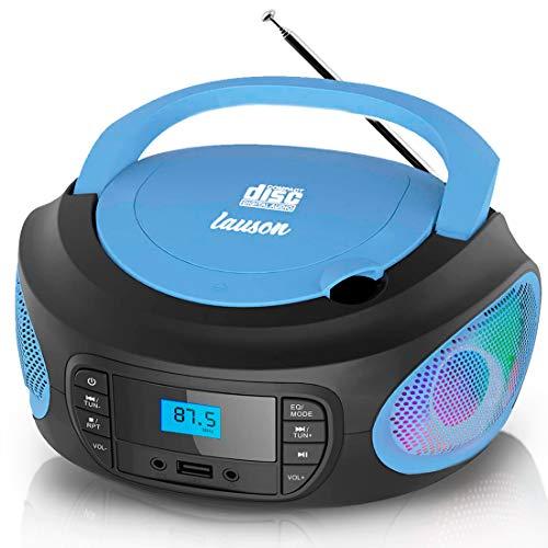 Lauson LLB997 Tragbarer CD-Player mit LED-Discolichter, Boombox, CD Player für Kinder, kinderradio mit cd und USB, CD-Radio mit LCD-Display, Netz & Batterie, Blau