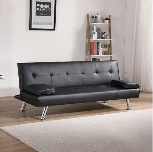 Sofa Bed Faux Leather Black Sofa Bed recliner 3 Seater Luxury Modest (Black)