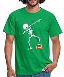 Spreadshirt Dabbing Squelette Ballon Rugby Football T-Shirt Homme, M, Vert