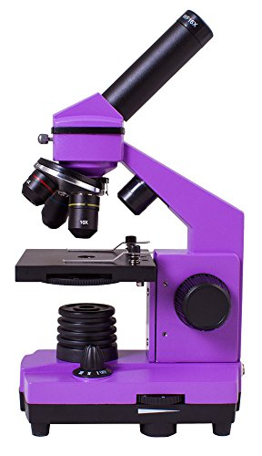 Levenhuk Rainbow 2L Plus Amethyst Metal Student Microscope (64-640x) with Experiment Kit for Indoor and Outdoor Use