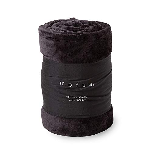 mofua(モフア) 毛布 シングル ふんわりあったか 静電気防止加工 マイクロファイバー 1年間品質保証 洗える 140×200cm ブラック 50000110