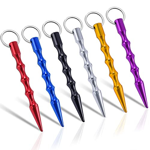 Solid Self-Defense Aluminum Keychain Tool Include Keyring for Women Teens & Man Multicolor 6 Pack