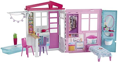 Barbie casa portátil de una planta con piscina, muebles y accesorios (Mattel GLL69), Embalaje sostenible