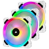 Corsair LL Series, LL120 RGB, 120mm RGB LED Fan, Triple Pack with Lighting Node PRO- White, Lighting Node PRO Included, LL120 RGB White,CO-9050092-WW