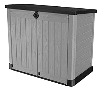 Keter Store-It-Out Ace 4.75 x 2.7 Foot Resin Outdoor Storage Shed with Easy Lift Hinges Perfect for Trash Cans Yard Tools and Pool Toys-Bin Opening Kit Included Grey