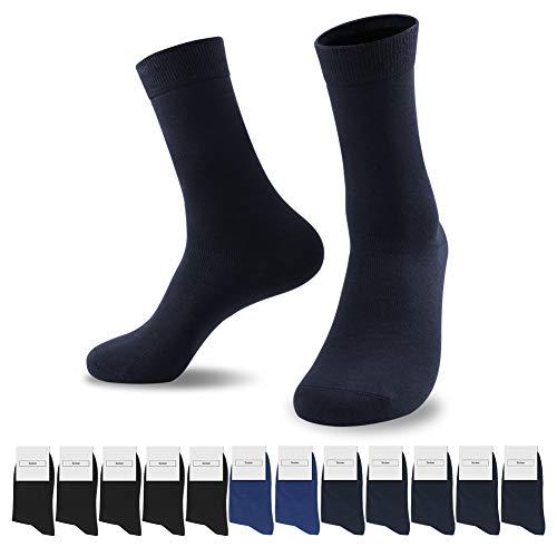 SmartQian 12 Paar Socken Herren Damen Baumwollsocken Schwarz für Business Komfort-Bund Unisex(Schwarz×5 Marine×5 Marineblau×2, 43-46)