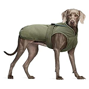 Kuoser Canvas Cold Weather Dog Coat for Winter, Reflective Dog Warm Fleece Jacket Water Repellent Windproof Dog Vest for Small Medium Large Dogs with Zipper Leash Hole XS-3XL