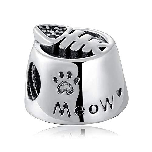 Charms Bead S925 Perla Gioielli Fai-Da-Te Cat Food Bowl Meow...