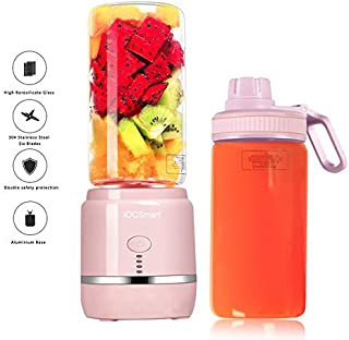 Mini Portable Eletric Personal Blender with 2 Juicer Cup USB Rechargeable Smart Smoothie Maker Juicer Blender for Shakes Baby Food Mixing Machine with Powerful Motor, 2x2000mAh High Capacity Batteries (Pink)