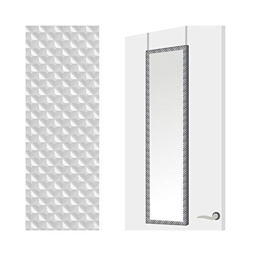 Espejo para Puerta Moderno, Plateado con diseño Geométrico, para Dormitorio, sin Agujeros (34,7cm X 1,5cm X 125cm) - Hogar y Más