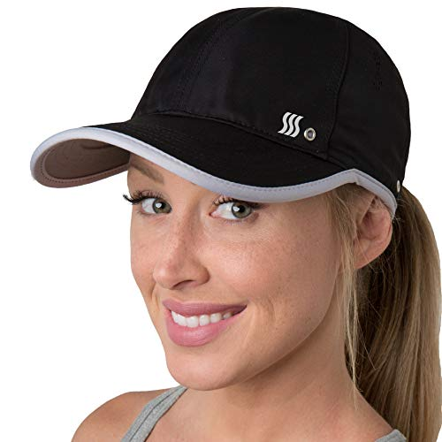 SAAKA Performance Sports Hat. Lightweight, Quick Drying. Running, Tennis & Golf Cap for Women (Black)
