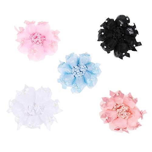 Lurrose 5pcs cheveux élastiques snood filet de ballet chignon couvre les accessoires de cheveux d'ornement pour les femmes (noir rose clair bleu ciel rouge et blanc)