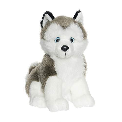 Teddykompaniet Båstad 2615 Kuscheltier Hund Husky, weiß/grau, 20 cm, sitzend – Hund Plüschtier - Stofftier für Kinder - ab Geburt