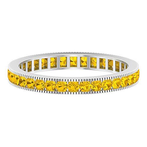 Rosec Jewels Ewigkeitsband, 1 Karat, künstlicher gelber Saphir, Milgrain-Hochzeitsband, 14K Weißes Gold, Size:EU 57