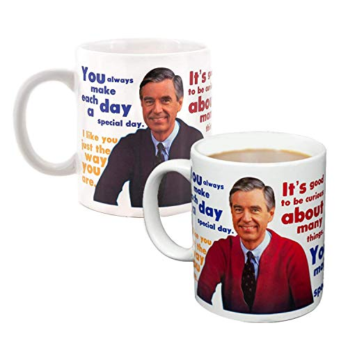 Mister Rogers Sweater Changing Coffee Mug | Add A Hot Beverage And Watch The Sweater Appear | Also Features Mister Rogers Quotes | Holds 16 Ounces