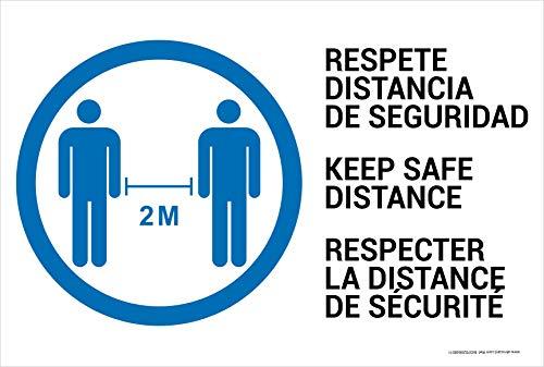 Cartello resistente in PVC – Rispetta la distanza di sicurezza in 3 IDIOMAS (spagnolo/inglese/francese) – Segnale di segnalazione COVID 19 – ideale da appendere e avvertire