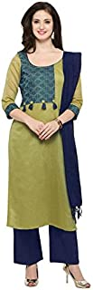 Inddus Green Woven Stylised Salwar Suit With Dupatta (fully Stitched)