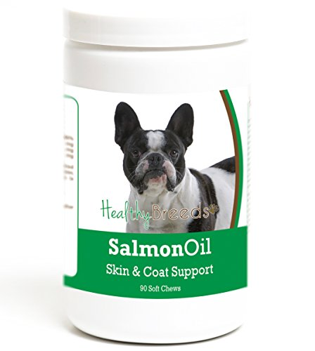Healthy Breeds Dog Salmon Oil Treat Soft Chews for French Bulldog - Over 200 Breeds - Omega 3 & 6 EPA DHA Fatty Acid Support - Easier Than Capsules & Pumps - 90 Chews
