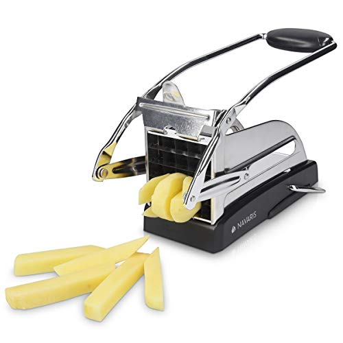 Navaris Cortador de Patatas Manual de Acero Inoxidable - Corta Patatas Profesional para Patatas Fritas francesas Verduras - Incluye 2 Cuchillas
