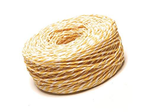 Papierband 100m x Ø 2mm gelb - weiß gedreht Papierschnur Dekoband Bastelband Bastschnur