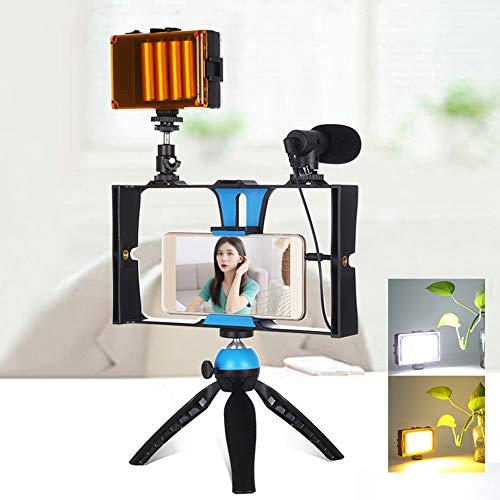Oumij1 Kit de Jaula para Fotografía para Teléfono Móvil - Estabilizador de Vídeo para Smartphone - Soporte para Fotografía de Mano - con Luz de Relleno, Micrófono, Trípode