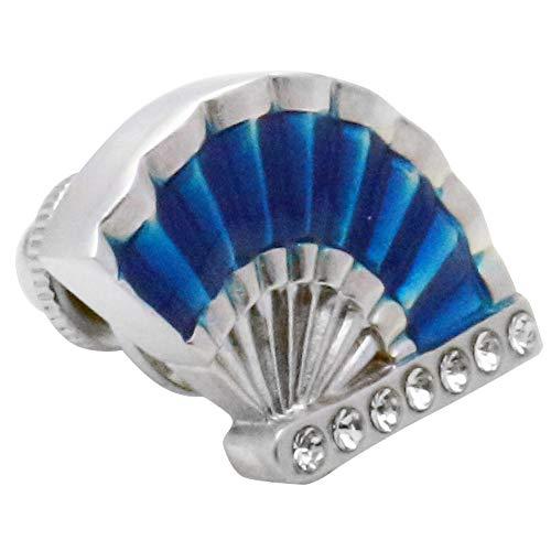 扇 扇子 団扇 ブルー ピンズ ラペルピン p0232